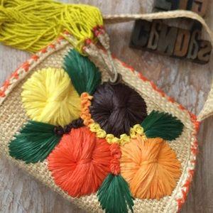 Straw & Rattan Floral Purse